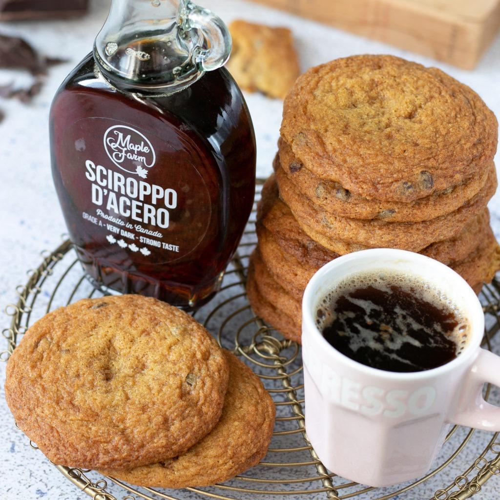Cookies allo sciroppo d'acero e gocce di cioccolato