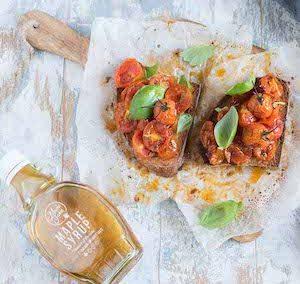 Bruschette con pomodorini confit allo sciroppo d'acero