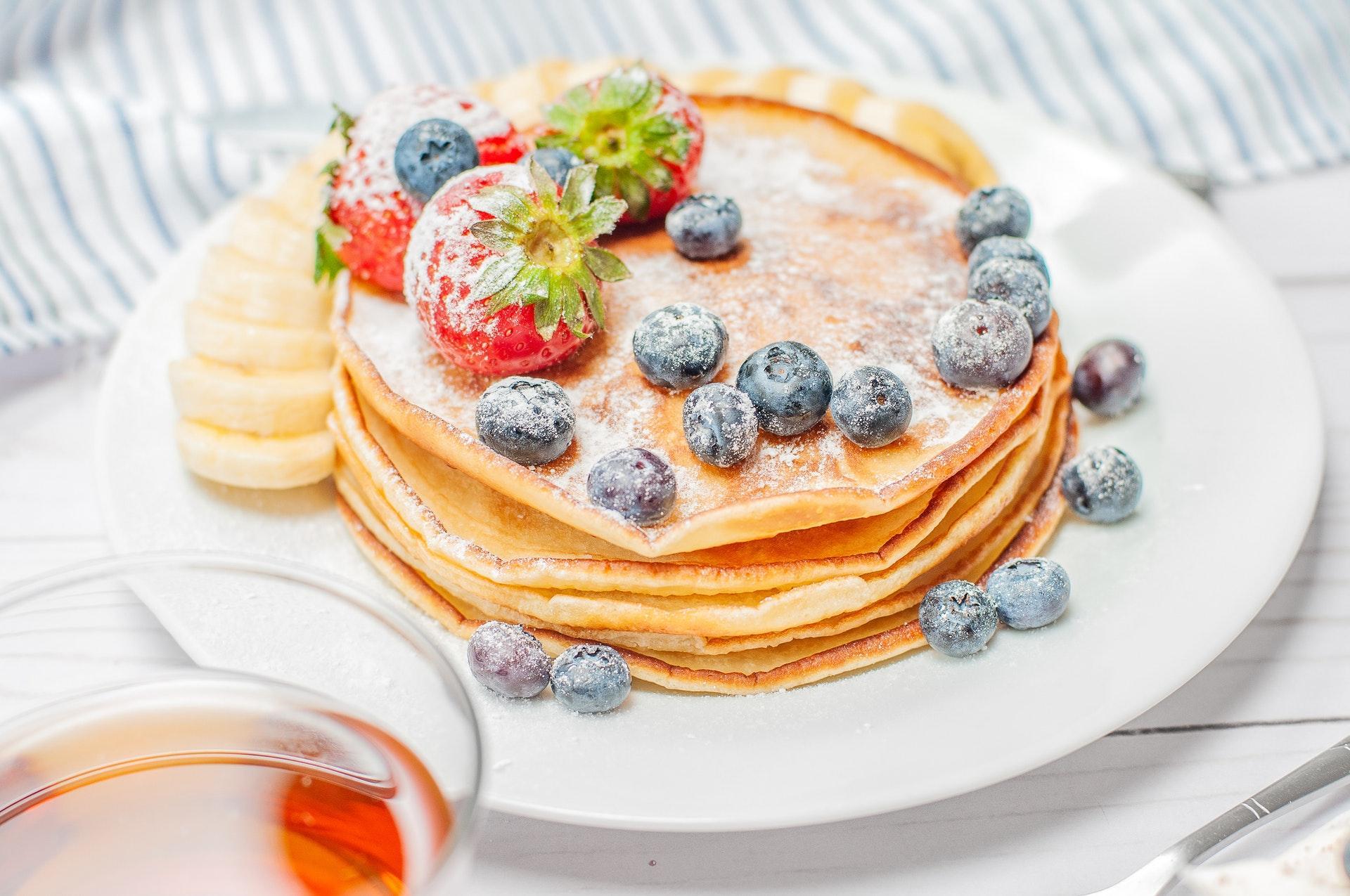 Pancake con lo sciroppo d'acero